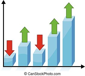 3d chart graph with red and green arrows