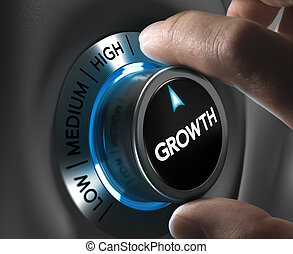 Growth button pointing the highest position with two fingers, blue and grey tones, Conceptual image for business or economic strategy