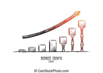 Business growth concept. Hand drawn isolated vector.