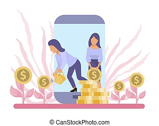 Business growth concept, money tree, investment online vector illustration