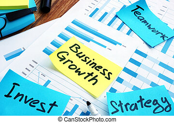 Business growth concept. Report and marks invest, teamwork and strategy.