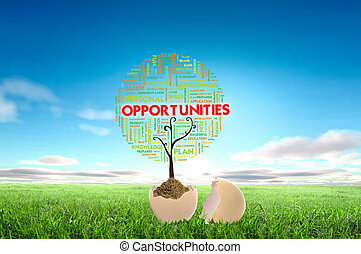 Business growth concept with tree cloud text in the egg