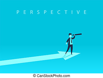 Business growth concept with upward arrow and a businessman looking forward through the telescope. A symbol of success, achievement.