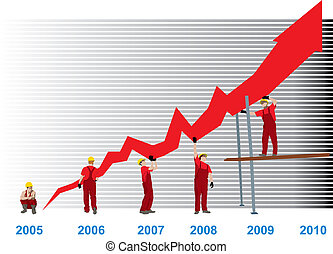Construction Business Growth And Success graph representing success and growth