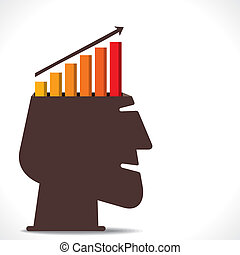 business growth graph in human head