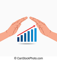 business growth graph under hand