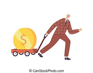 Business Growth, Investment, Wealth and Prosperity Concept. Businessman Character Pull Trolley with Huge Golden Coin. Investor with Money Wheelbarrow, Rich Man Millionaire. Cartoon Vector Illustration