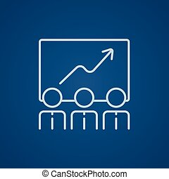 Business growth line icon. - Businessmen looking at growing...