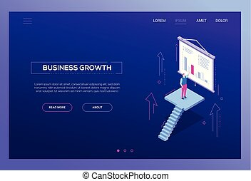 Business growth - modern isometric vector web banner