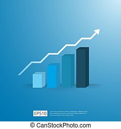 business growup chart bar with arrow direction. Finance growth vision stretching rising up. Return on investment ROI. increase profit margin revenue concept to success flat style vector illustration.