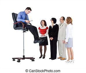 Business guru speaking to people from above - isolated
