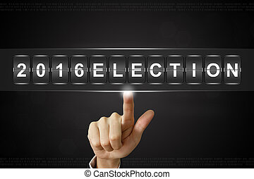 business hand clicking 2016 presidential election on Flipboard