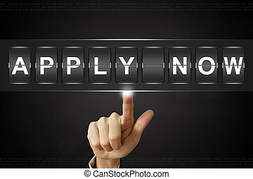 business hand pushing apply now on Flipboard Display
