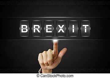 business hand clicking brexit or british exit on Flipboard...