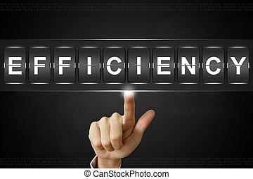 business hand pushing efficiency on Flipboard Display