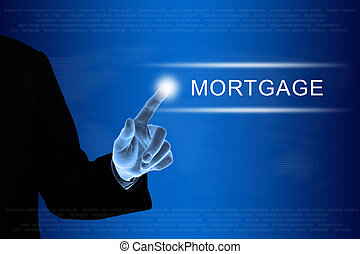 business hand clicking financial mortgage button on touch...