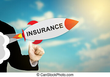 business hand clicking insurance rocket