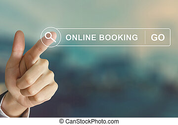 business hand clicking online booking button on search toolbar