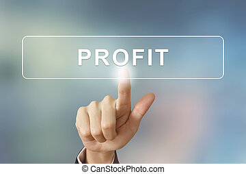 business hand clicking profit button on blurred background -...
