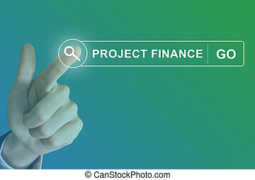 business hand clicking project finance button on search...