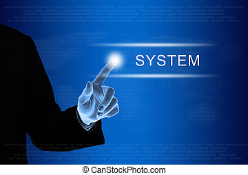 business hand clicking system button on touch screen