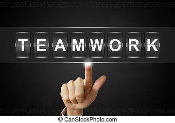 business hand clicking teamwork on Flipboard