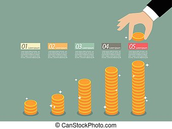 Business hand collect coin infographic