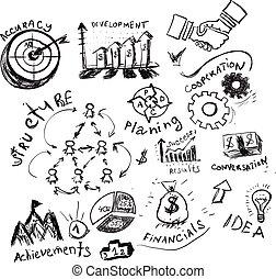 Business hand drawn symbols.