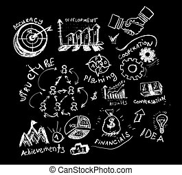 Business hand drawn symbols.