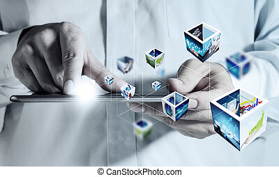 touch pad computer and 3d streaming images - business hand...