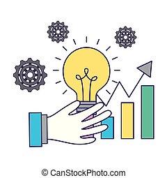 business hand holding bulb statistics chart