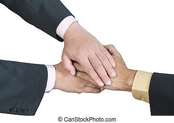 business hand joined for teamwork concept