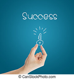Business hand key to success