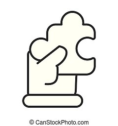 business hand lifting puzzle piece