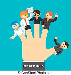Business hand. Open hand with employee on fingers....