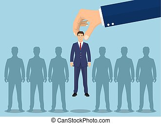 Business hand picking up a businessman.