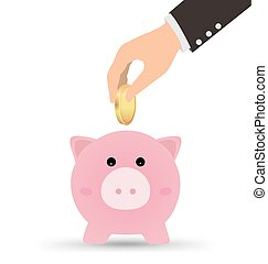 Business Hand With Piggy Bank and Coin, Finance Concept