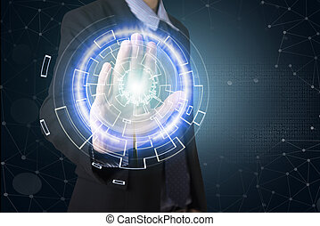 business hand point social network system on virtual screen. concept technology.