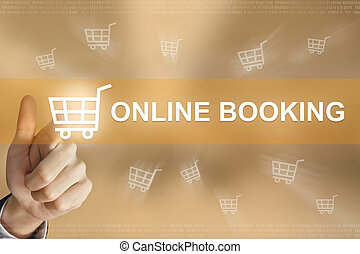 business hand press online booking button