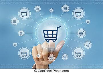 business hand press online shopping button