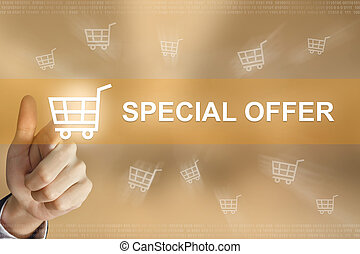business hand press special offer button