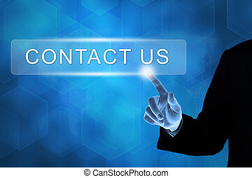 business hand touching contact us button on a touch screen interface