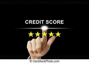 business hand pushing credit score on screen