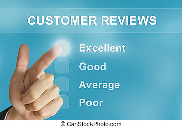 business hand pushing customer reviews button