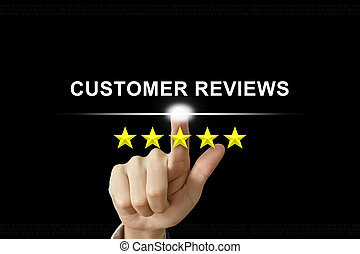 business hand pushing customer reviews on screen - business...