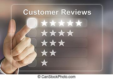 business hand pushing customer reviews on virtual screen -...