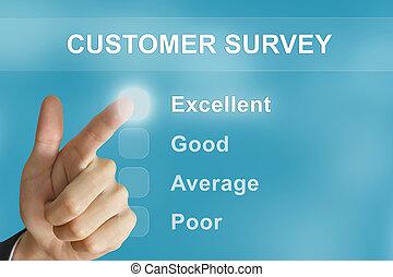 business hand pushing customer survey button