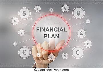 business hand pushing financial plan button