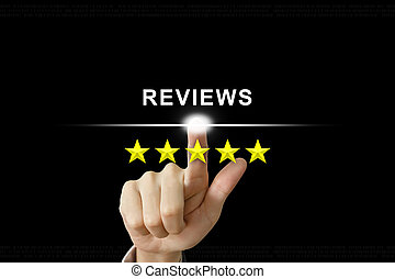 business hand clicking reviews with five stars on screen