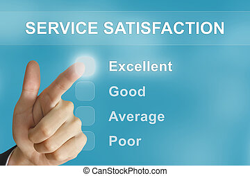 business hand pushing service satisfaction button